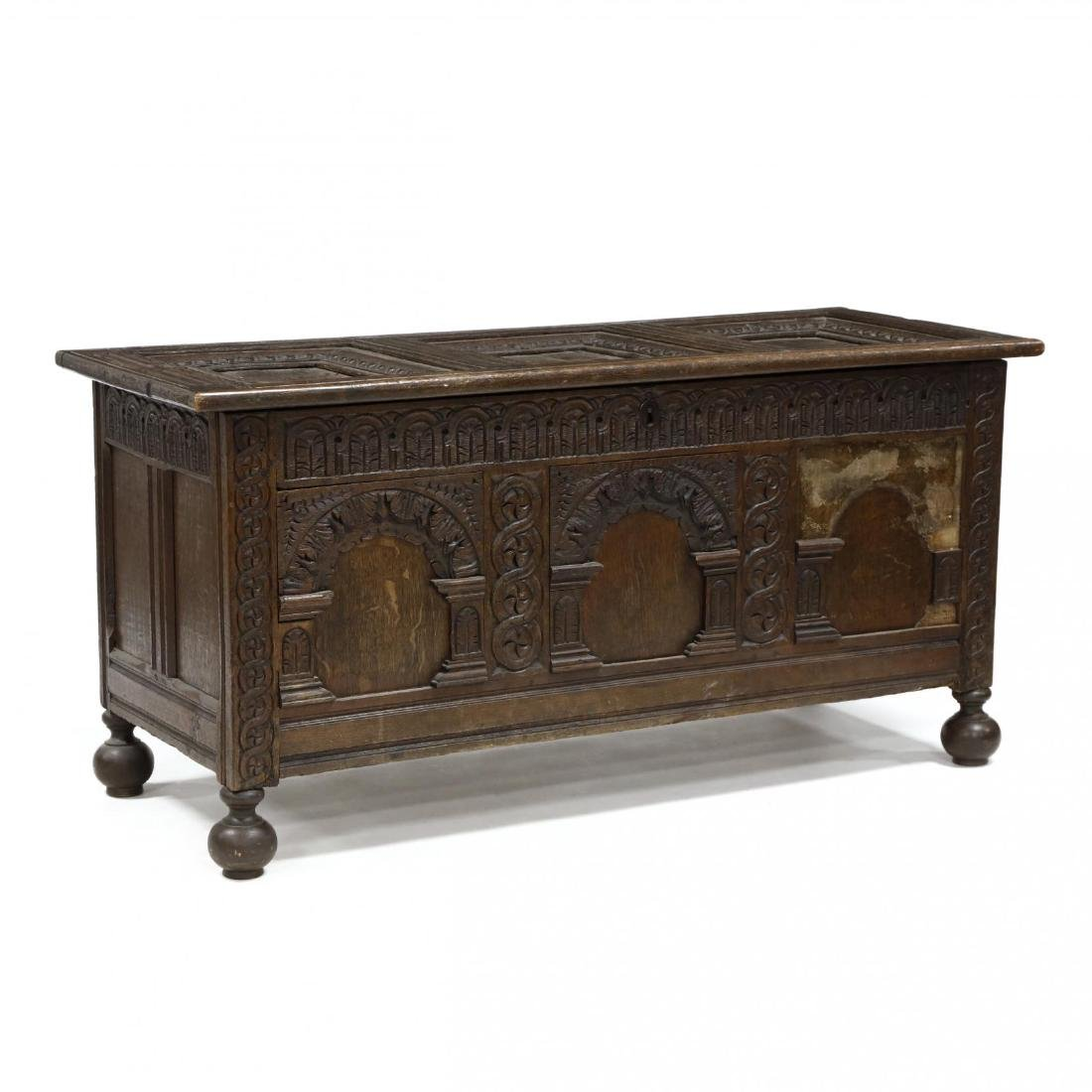 Jacobean Carved Walnut Coffer