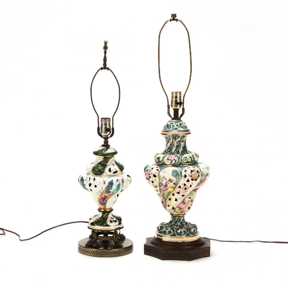 Two Capodimonte Porcelain Table Lamps