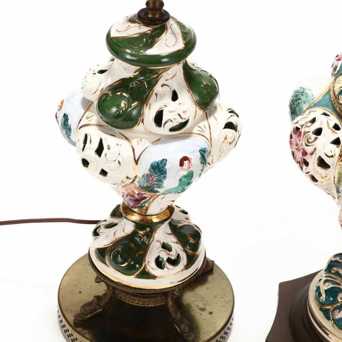 Two Capodimonte Porcelain Table Lamps - 3