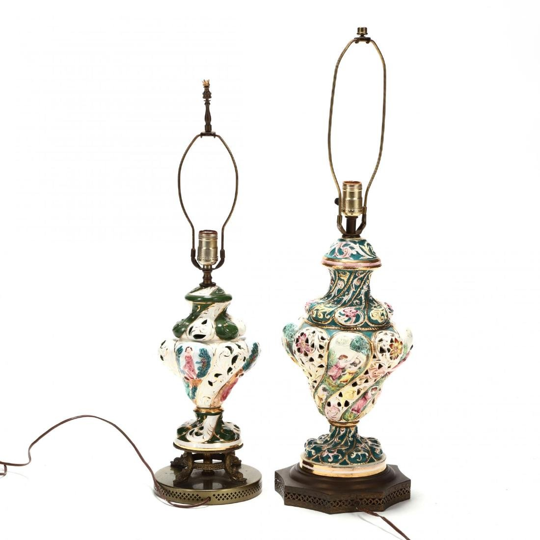 Two Capodimonte Porcelain Table Lamps - 4