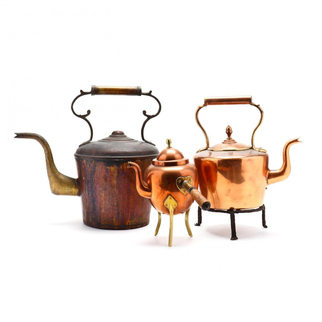 Three Vintage Copper Kettles