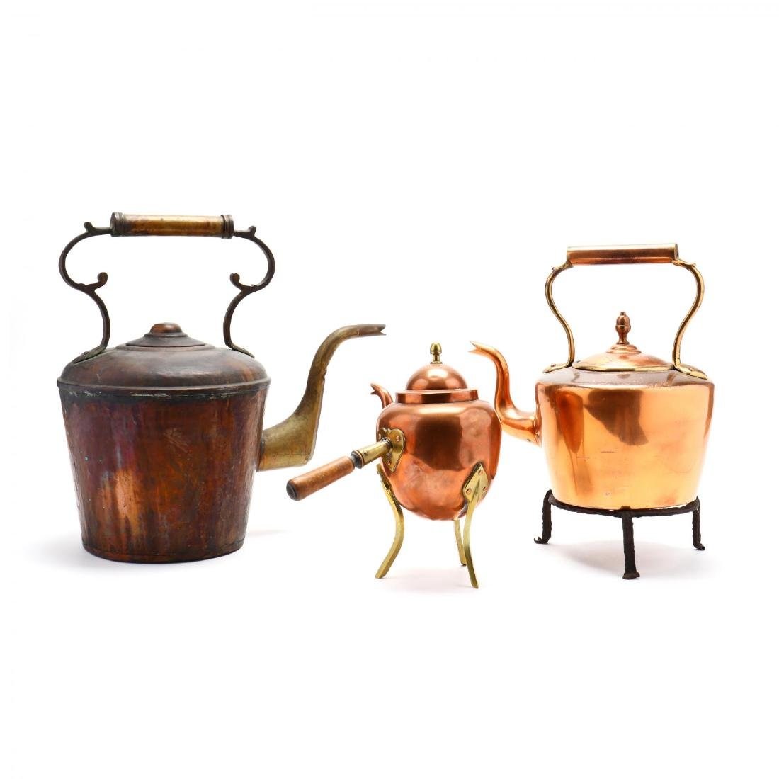 Three Vintage Copper Kettles - 2