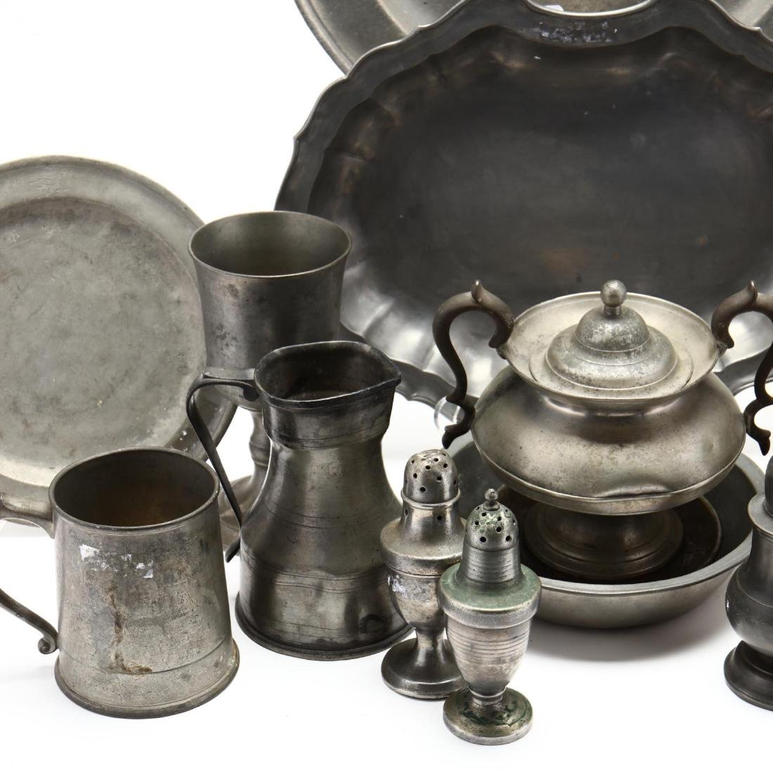 (16) Antique Pewter Serving Objects - 5