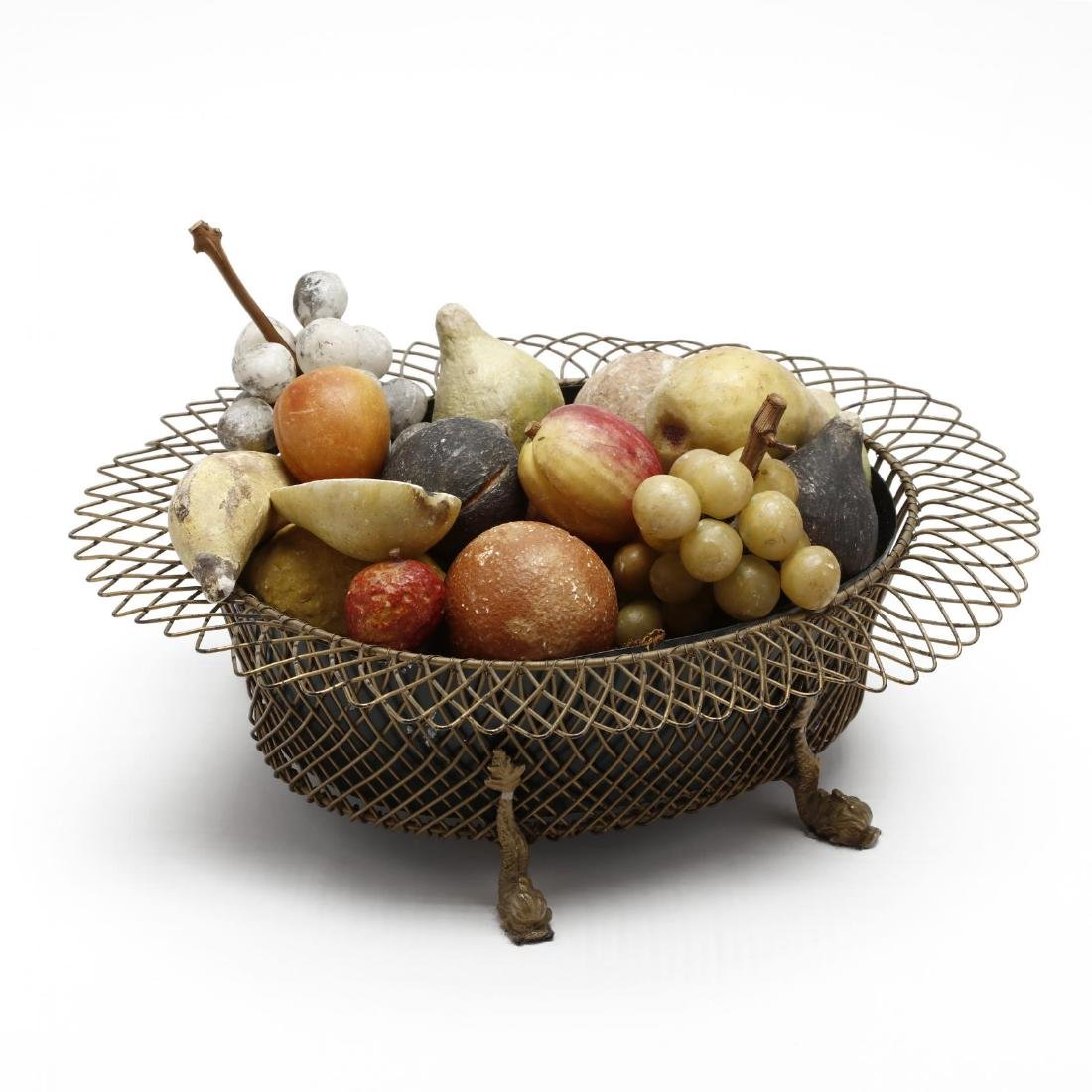 Vintage Neoclassical Basket with Stone Fruit