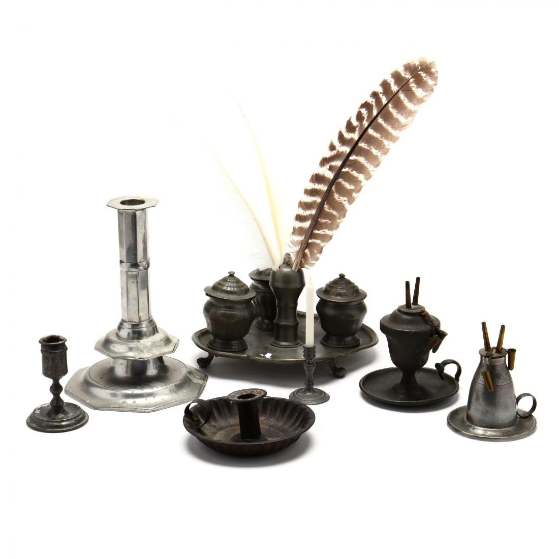 Six Early Pewter Desk Accessories
