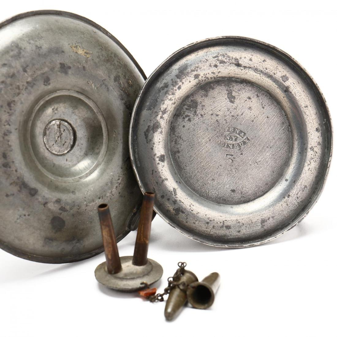 Six Early Pewter Desk Accessories - 4