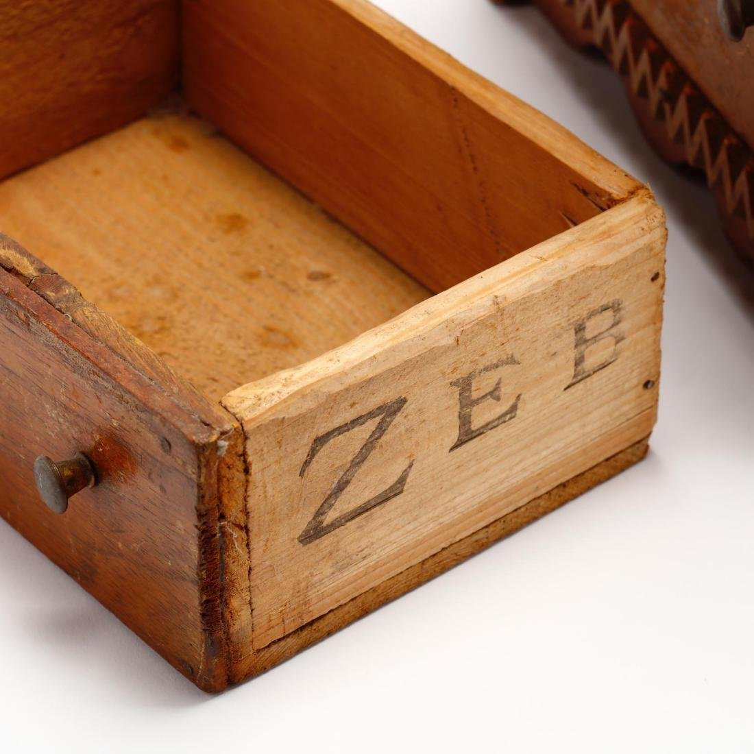 Two Vintage Tramp Art Miniature Chests of Drawers - 10