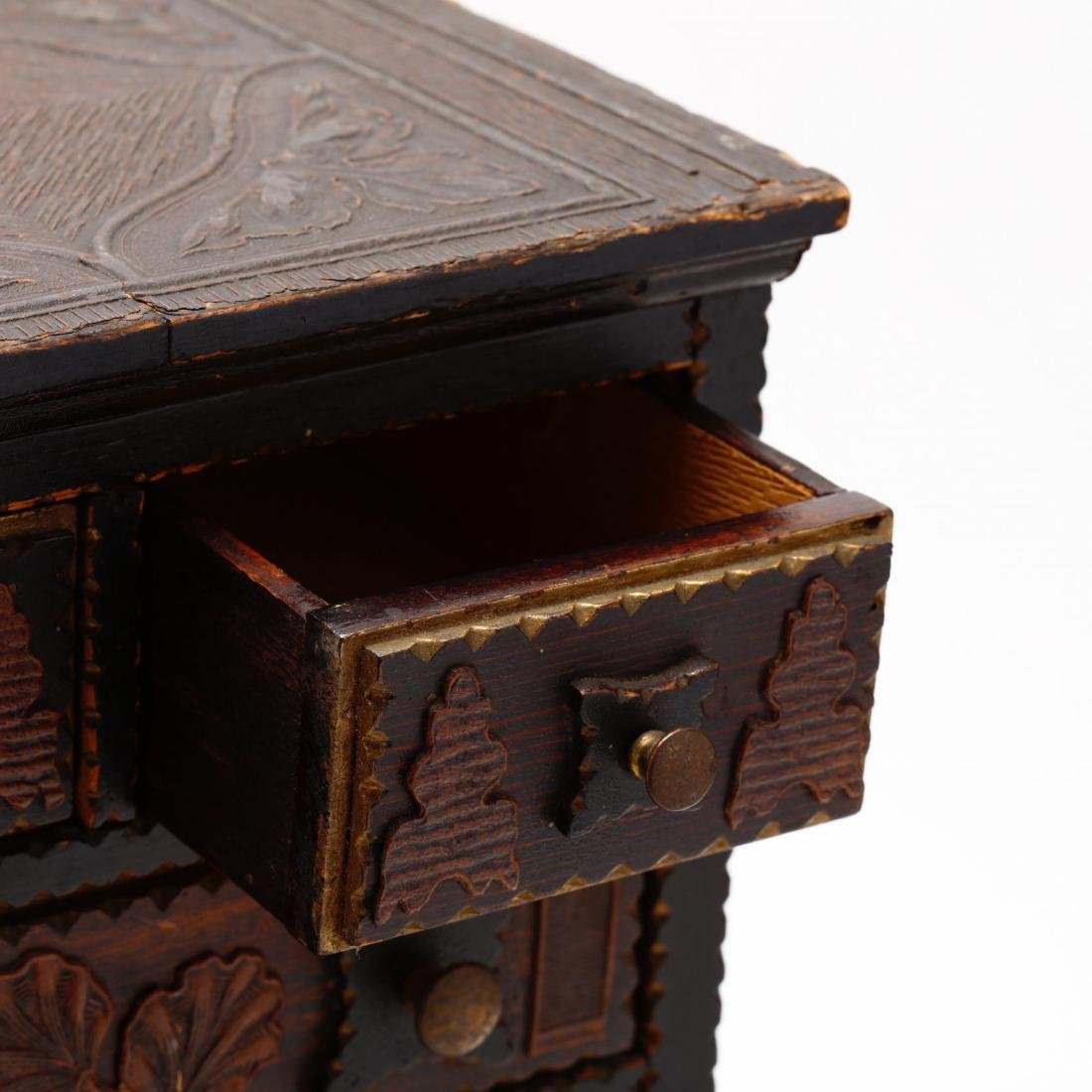 Two Vintage Tramp Art Miniature Chests of Drawers - 3