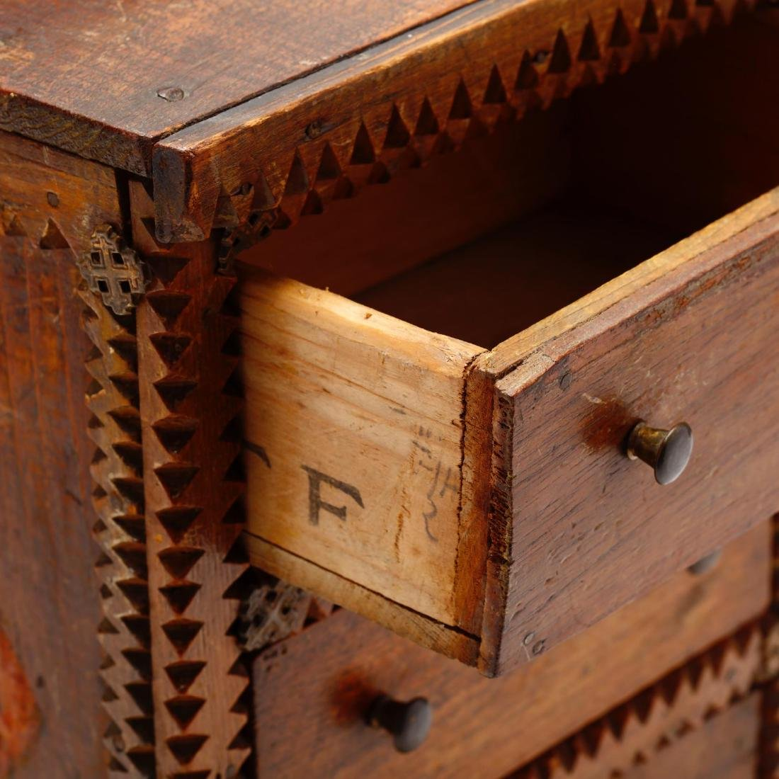 Two Vintage Tramp Art Miniature Chests of Drawers - 9
