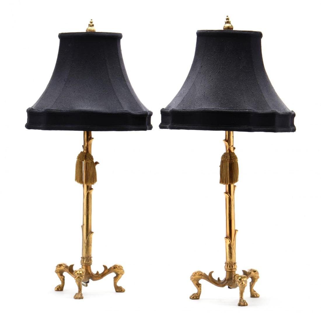 Pair of Continental Naturalistic Brass Table Lamps