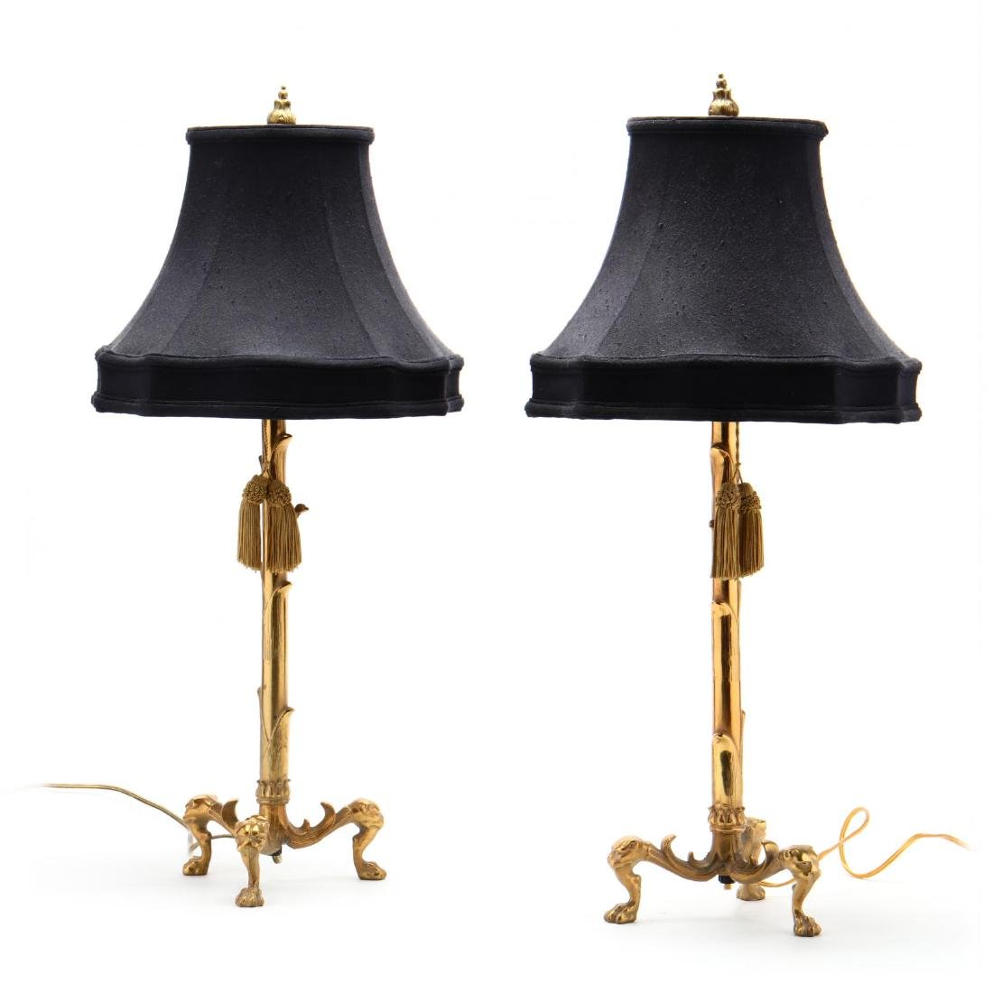 Pair of Continental Naturalistic Brass Table Lamps - 4