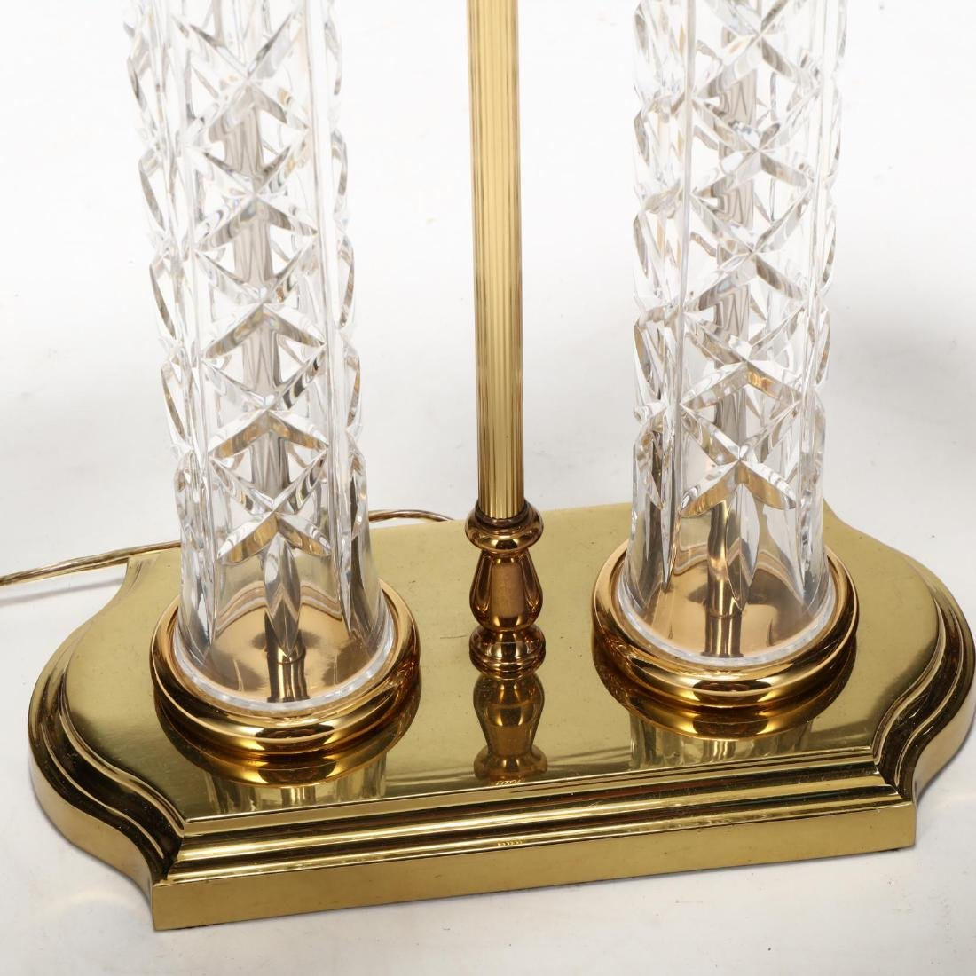 Waterford, Double Column Brass and Crystal Table Lamp - 2