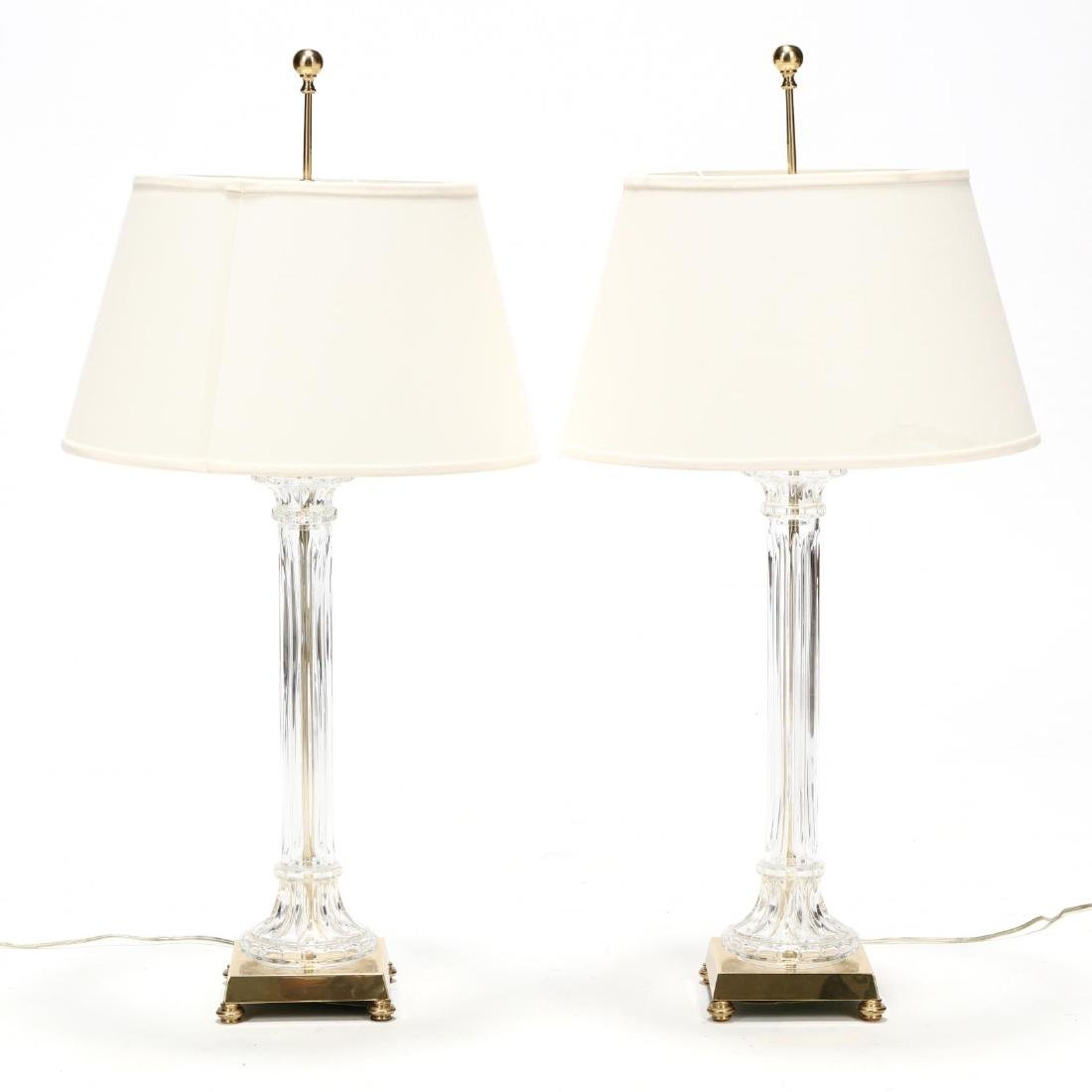 Pair of Glass and Brass Column Table Lamps