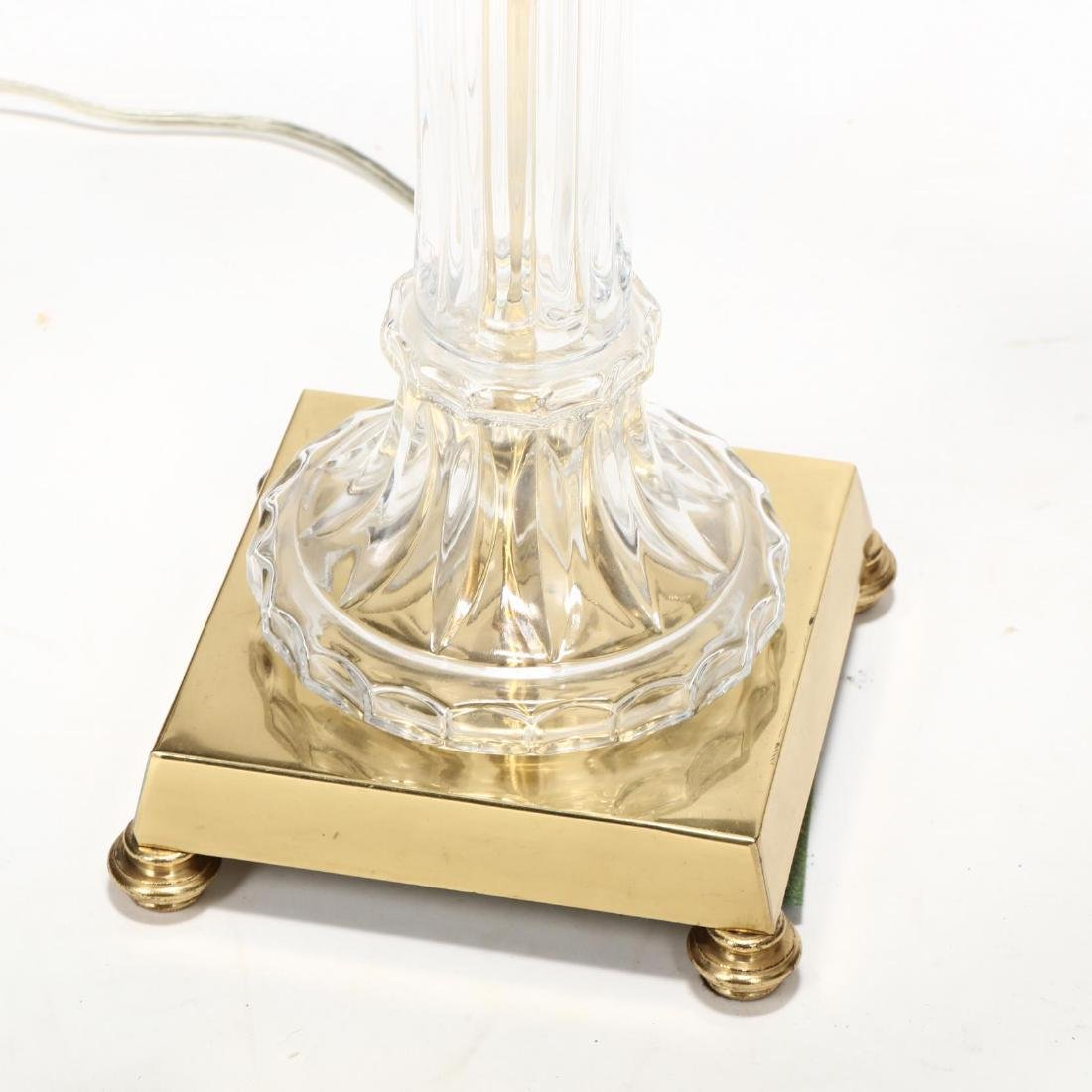 Pair of Glass and Brass Column Table Lamps - 2