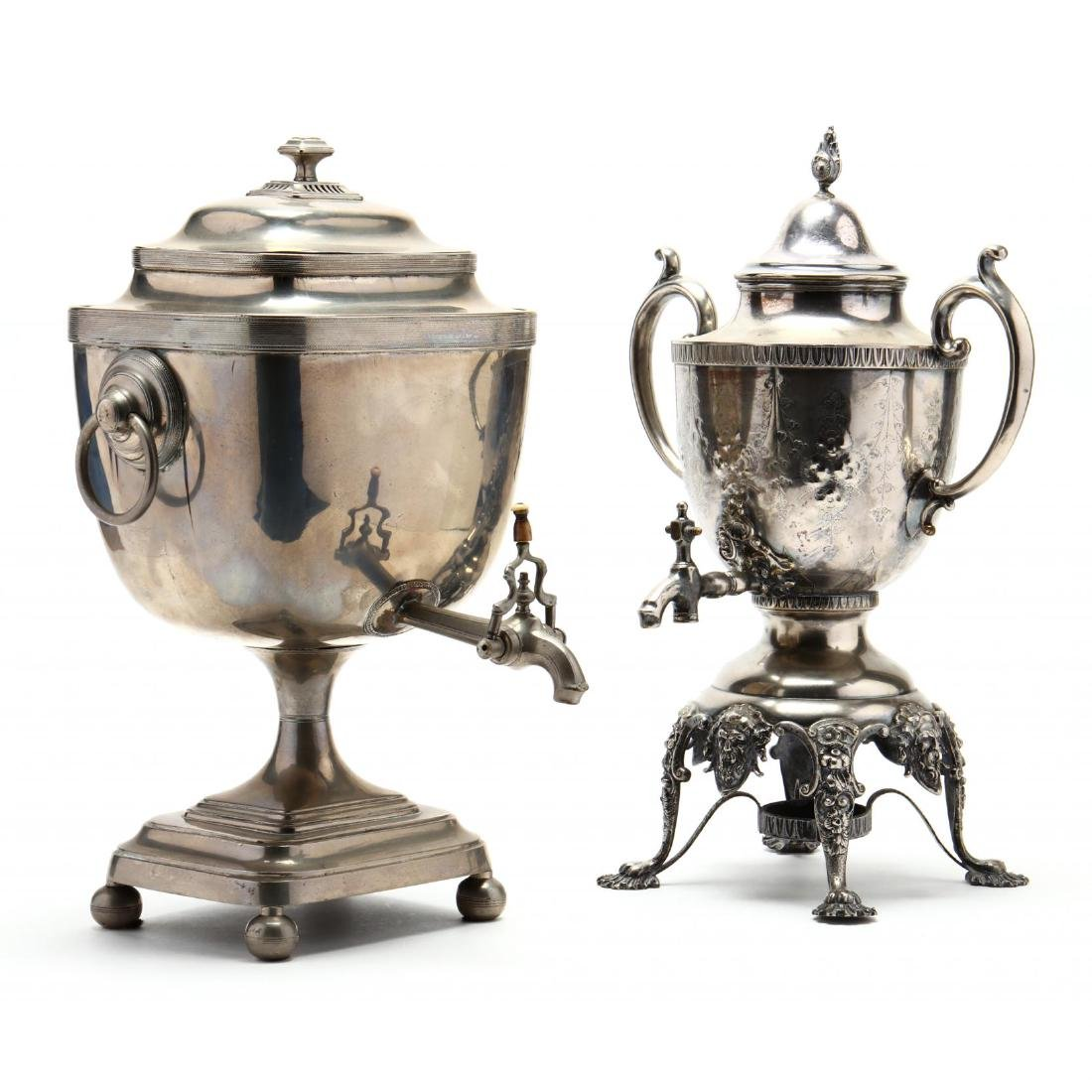 Two Antique Silverplate Tea Urns