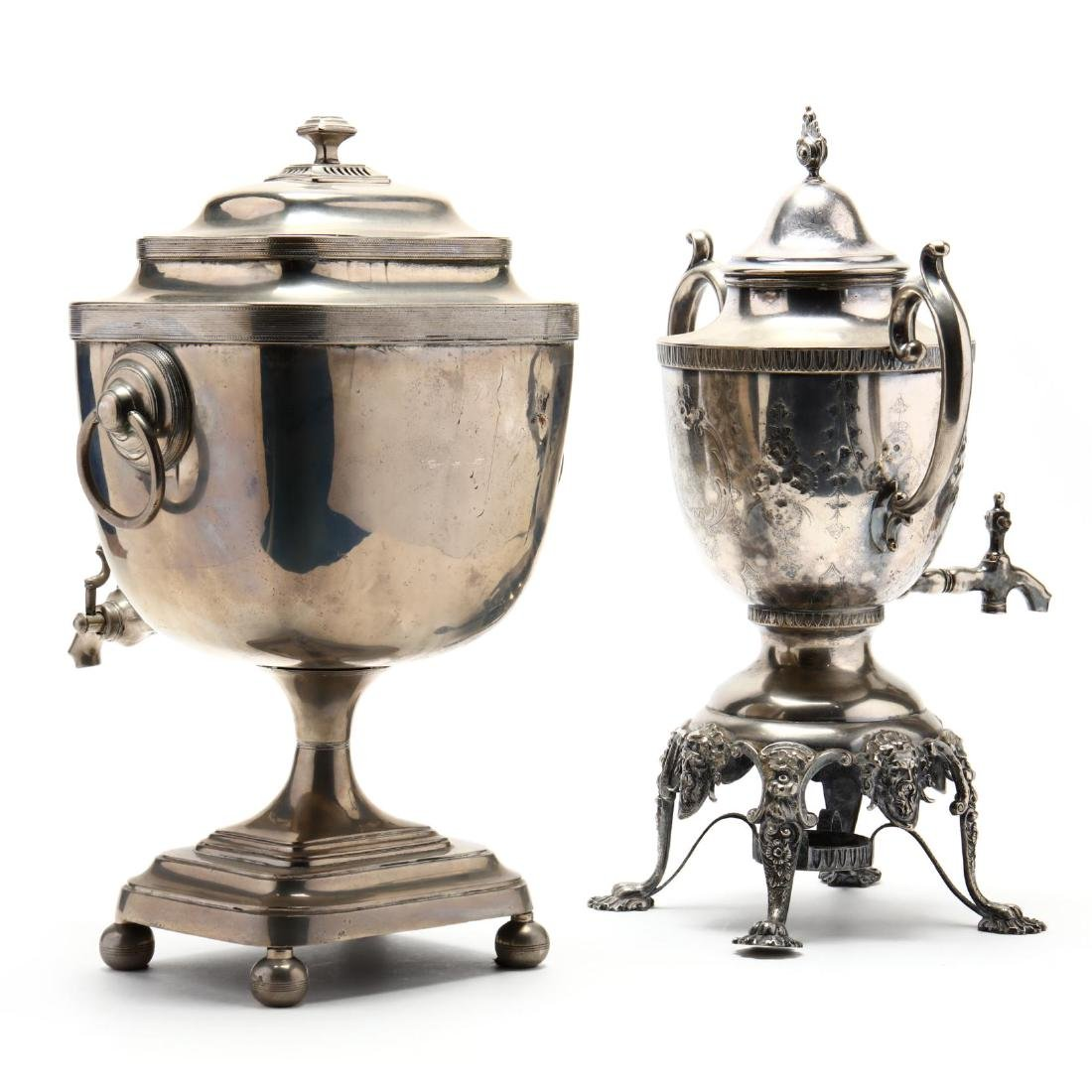 Two Antique Silverplate Tea Urns - 2