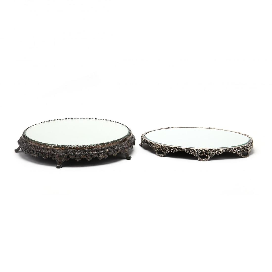 Two Vintage Silverplate Mirrored Plateaus