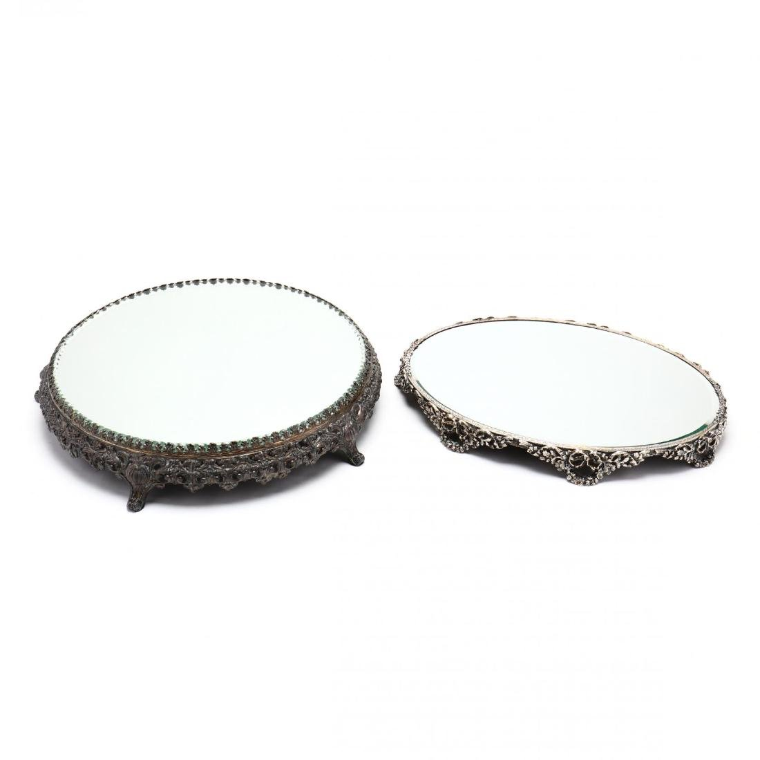 Two Vintage Silverplate Mirrored Plateaus - 2