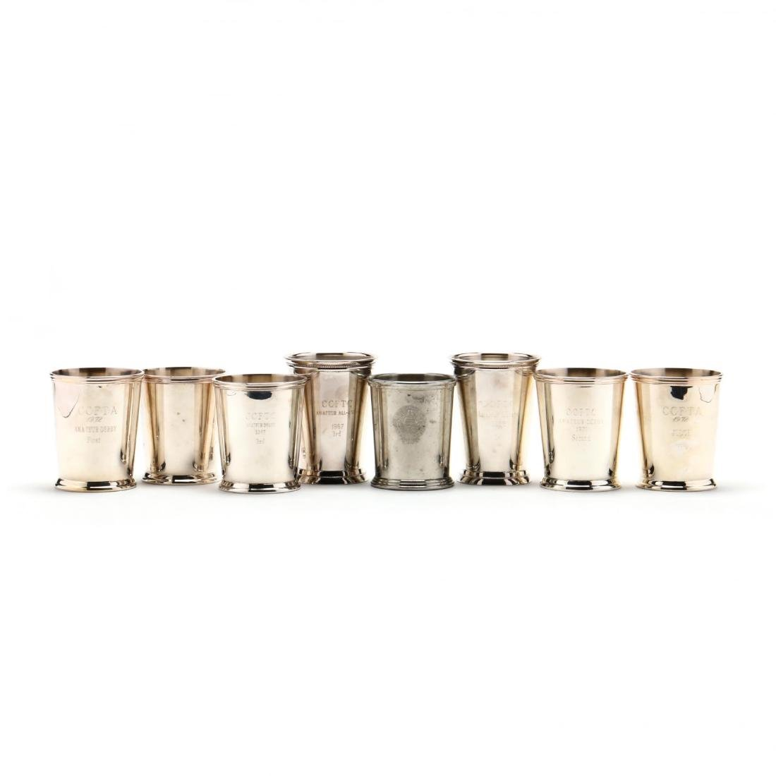 Eight Silverplate and Pewter Mint Juleps