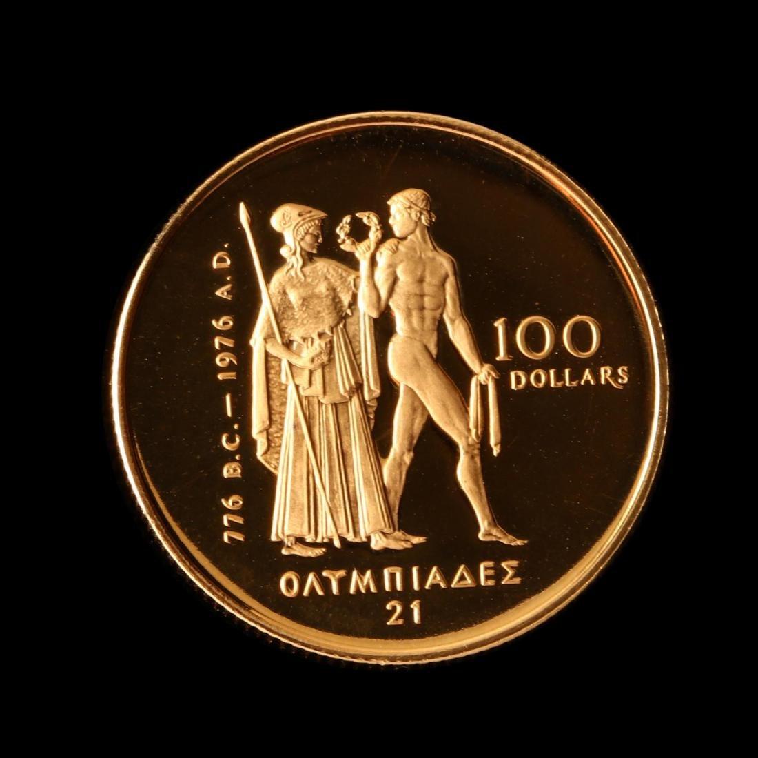 Canada, 1976 XXI Olympiad $100 Proof Half Ounce Gold - 3