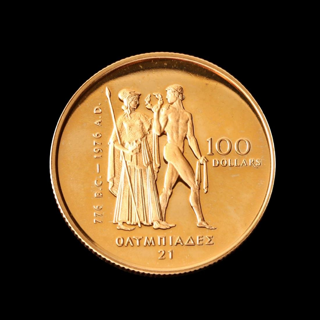 Canada, 1976 XXI Olympiad $100 Proof Half Ounce Gold - 4