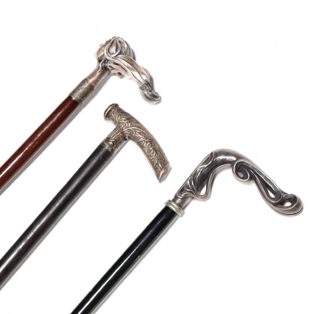 Three Silver Handled Canes - 3