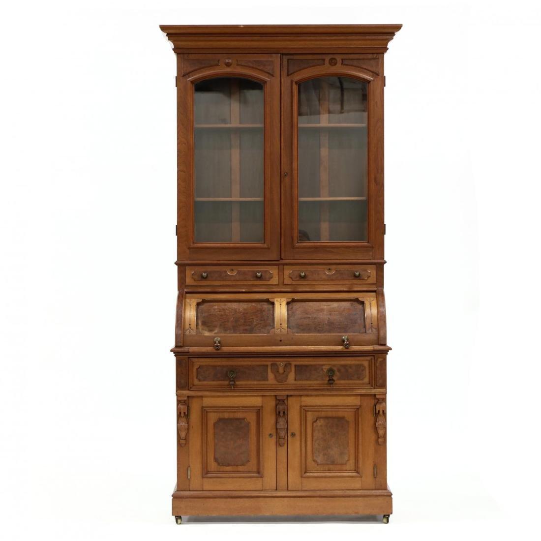 Victorian Walnut C Scroll Secretary Bookcase