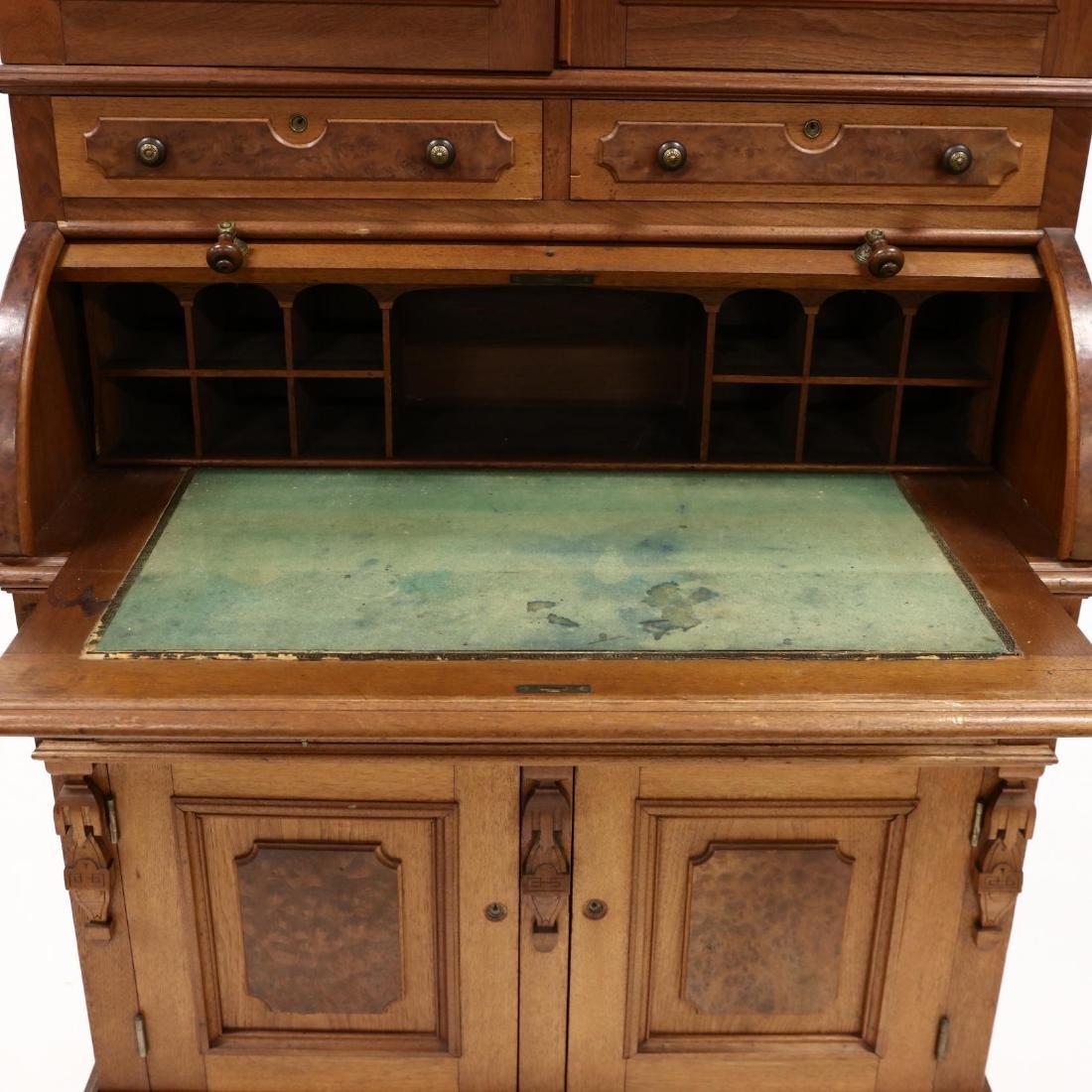 Victorian Walnut C Scroll Secretary Bookcase - 2