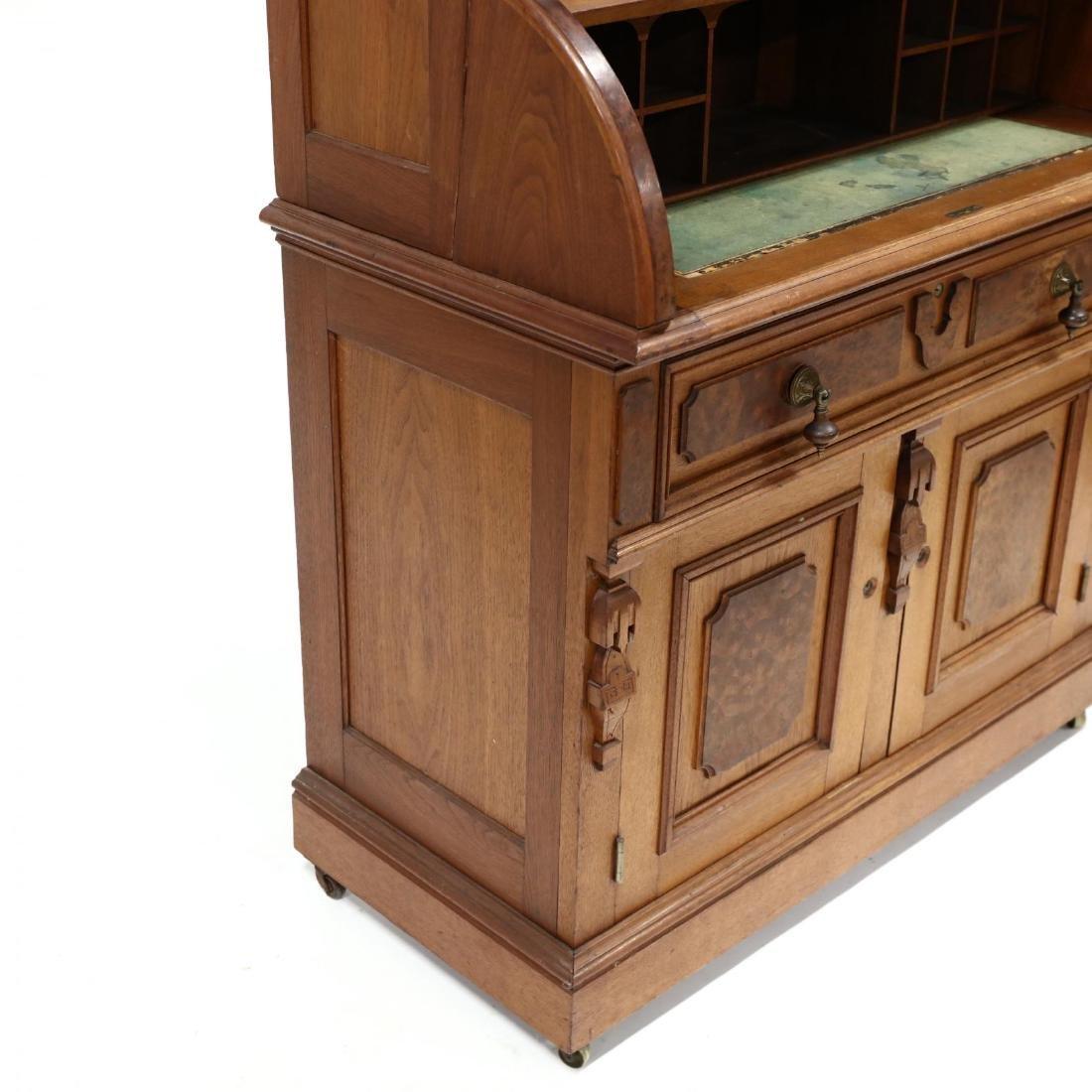 Victorian Walnut C Scroll Secretary Bookcase - 3