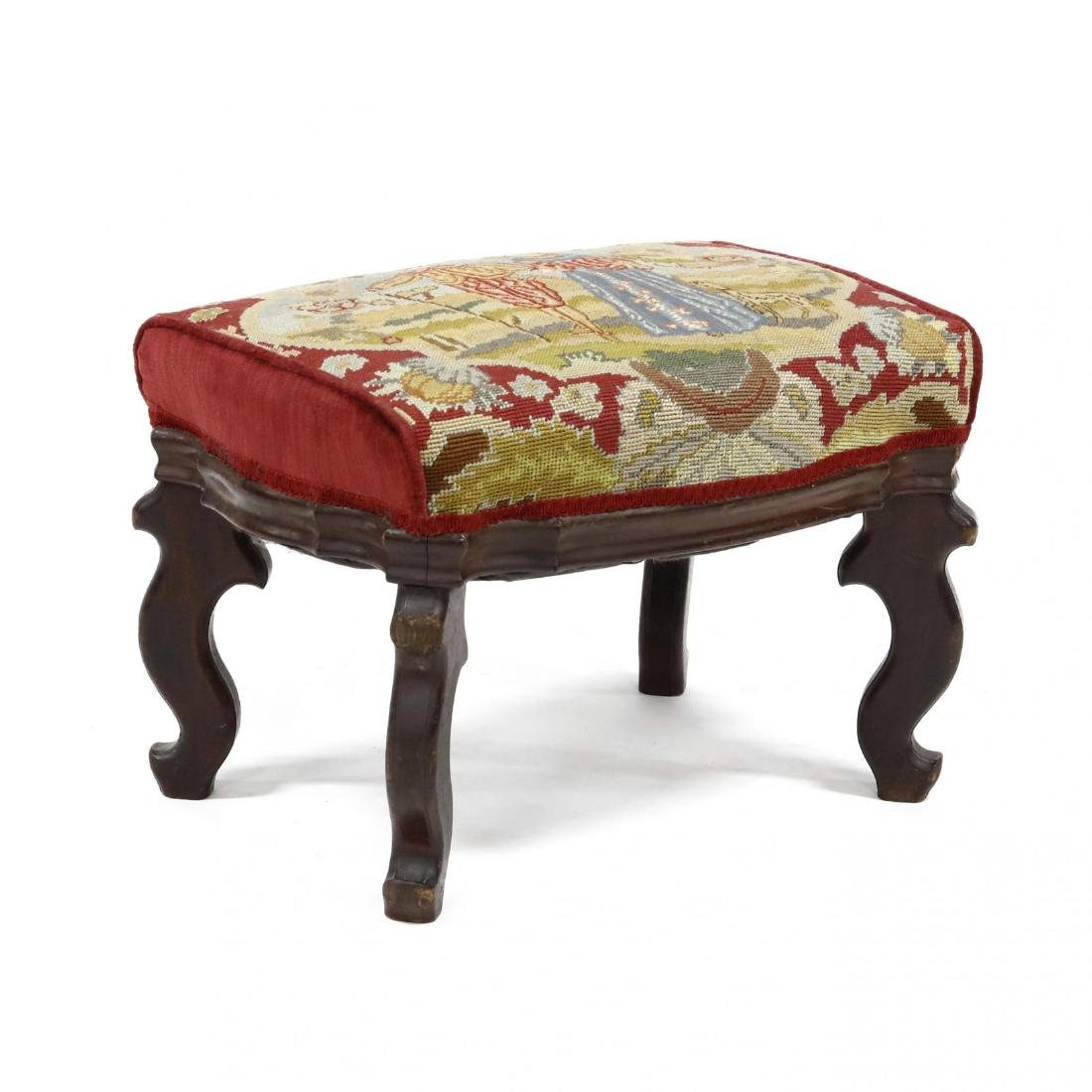 American Late Classical Needlepoint Ottoman