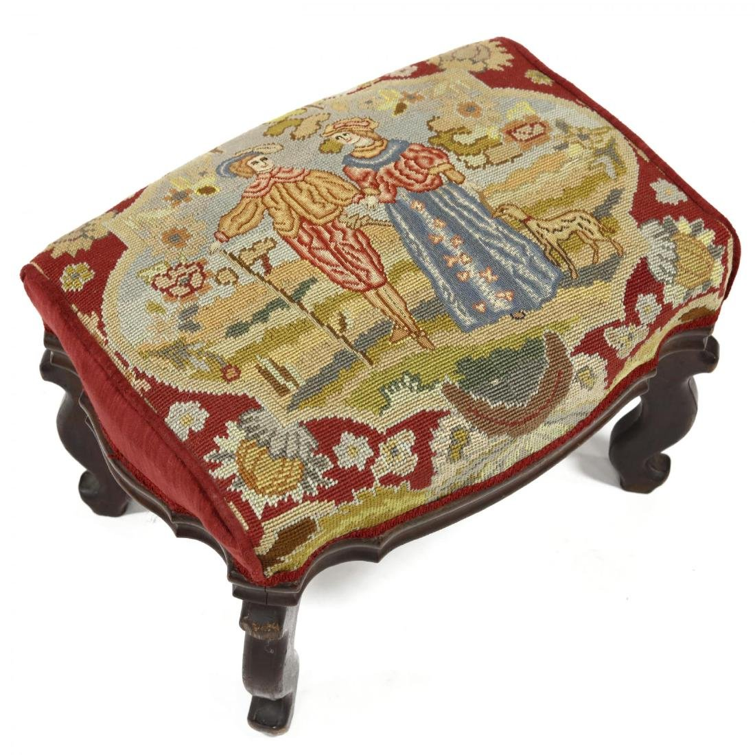 American Late Classical Needlepoint Ottoman - 2