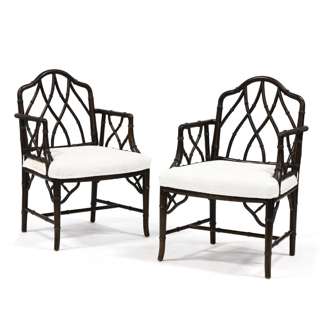 Pair of Chinese Chippendale Style Armchairs