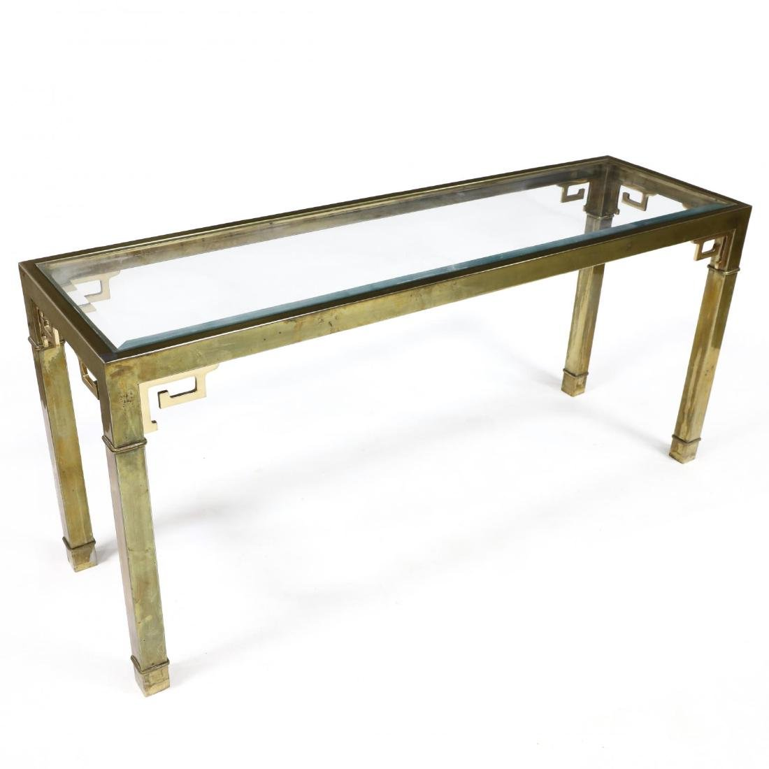Vintage Brass and Glass Console Table - 2