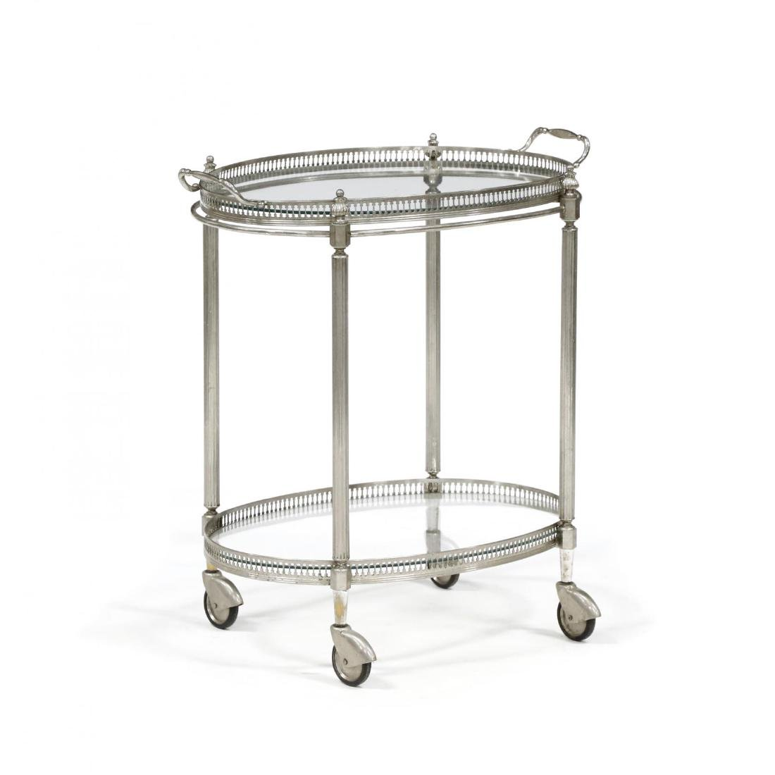 Vintage Silverplate and Glass Drinks Cart