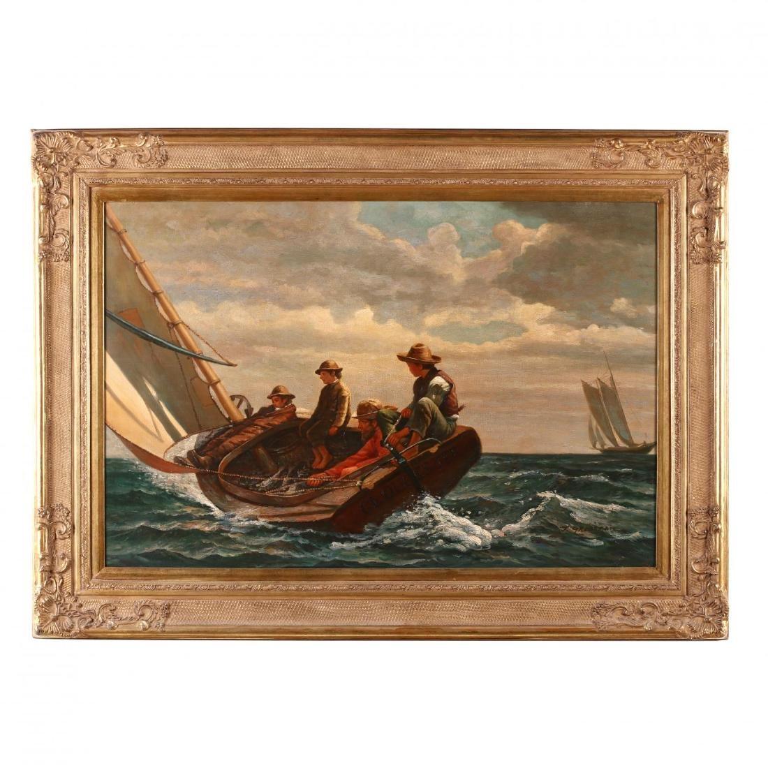 "after Winslow Homer's ""Breezing Up (A Fair Wind)"""