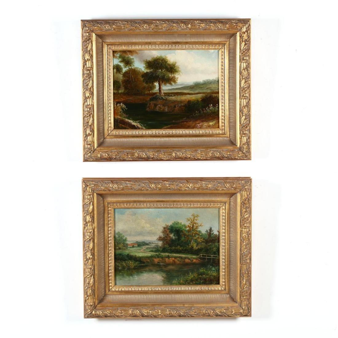 A Pair of Antique Style Decorative Landscape Paintings