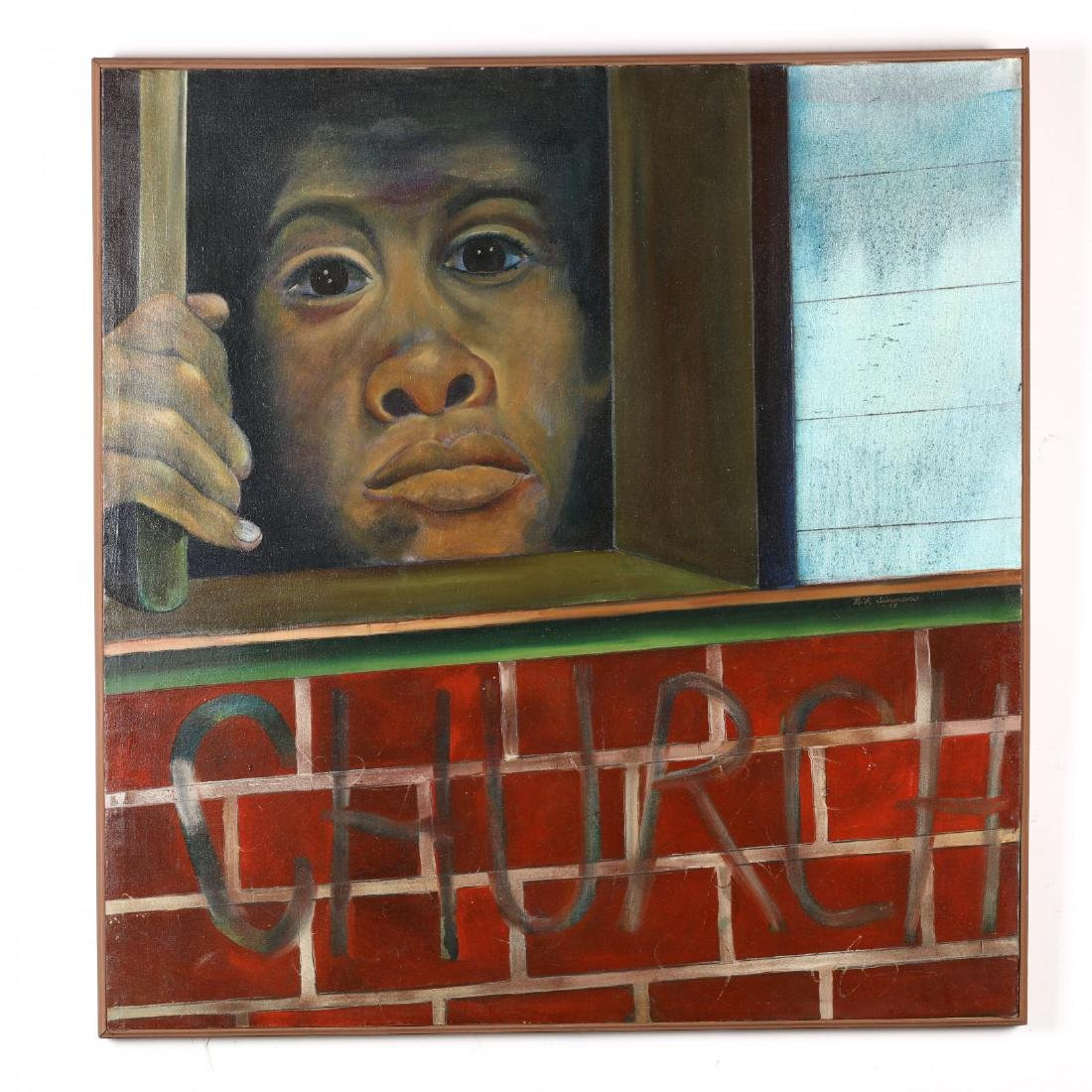 Large Enigmatic Painting of a Prisoner Behind Bars