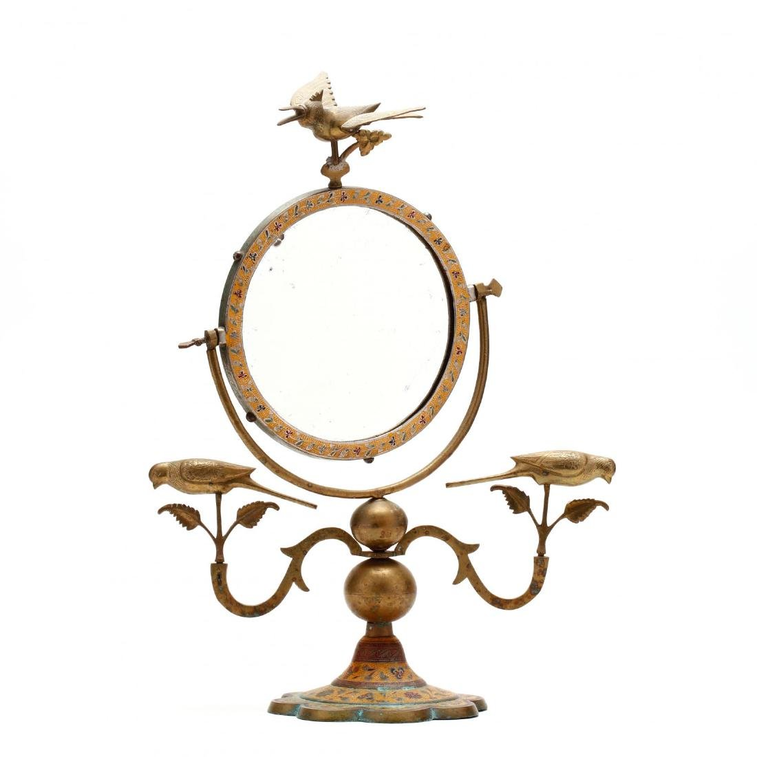 Indonesian Figural and Enameled Brass Dressing Mirror
