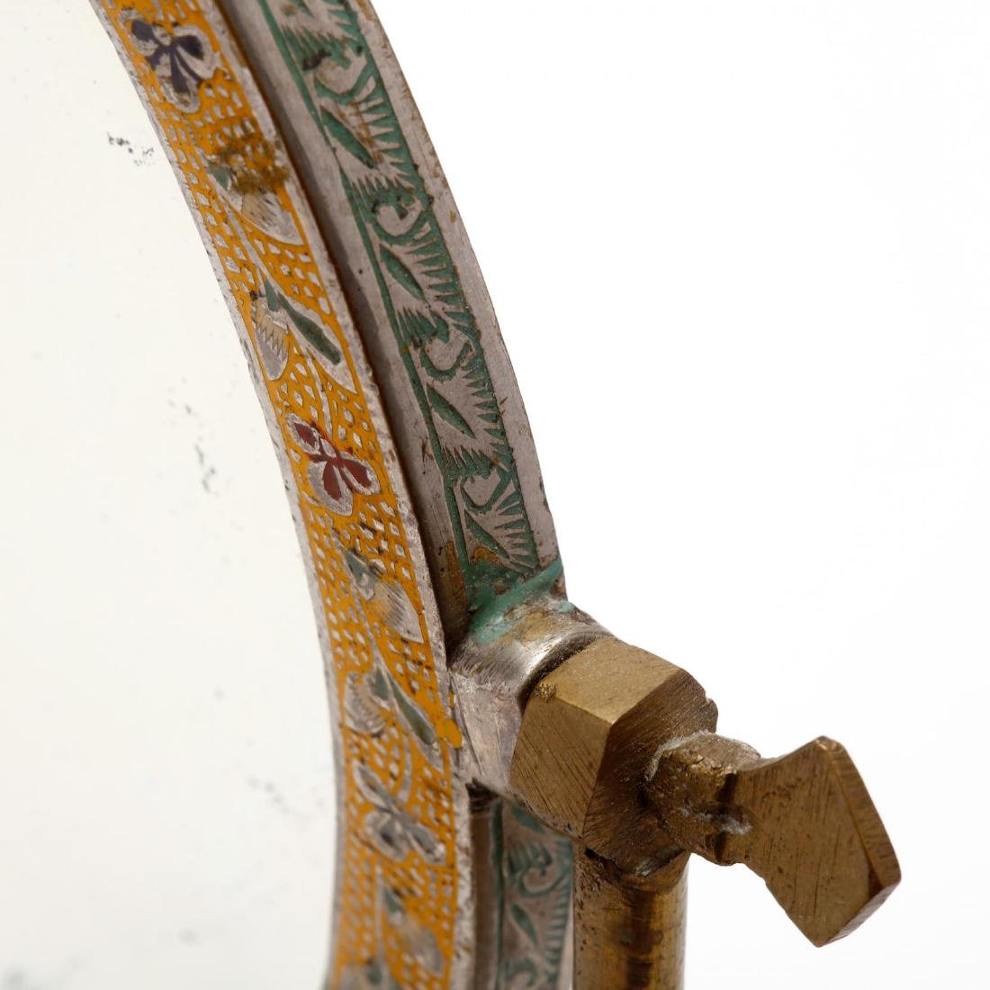 Indonesian Figural and Enameled Brass Dressing Mirror - 5
