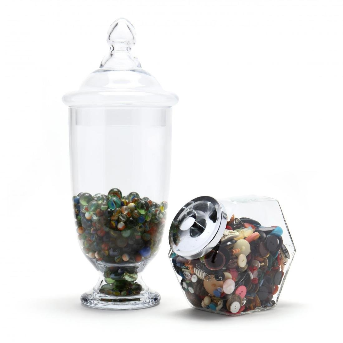 Two Glass Jars with Vintage Buttons and Marble