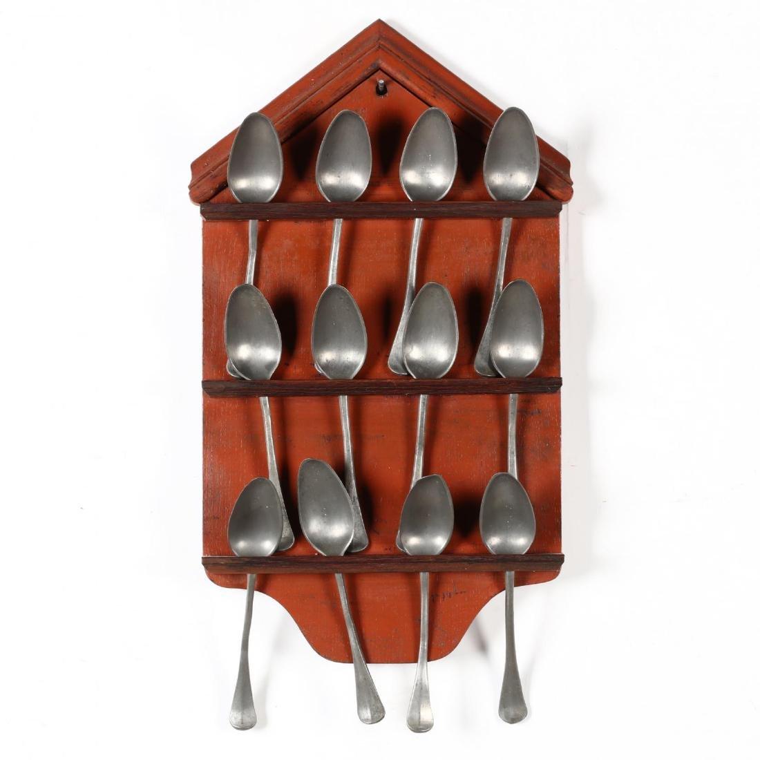 Twelve Lead Spoons with Painted Rack