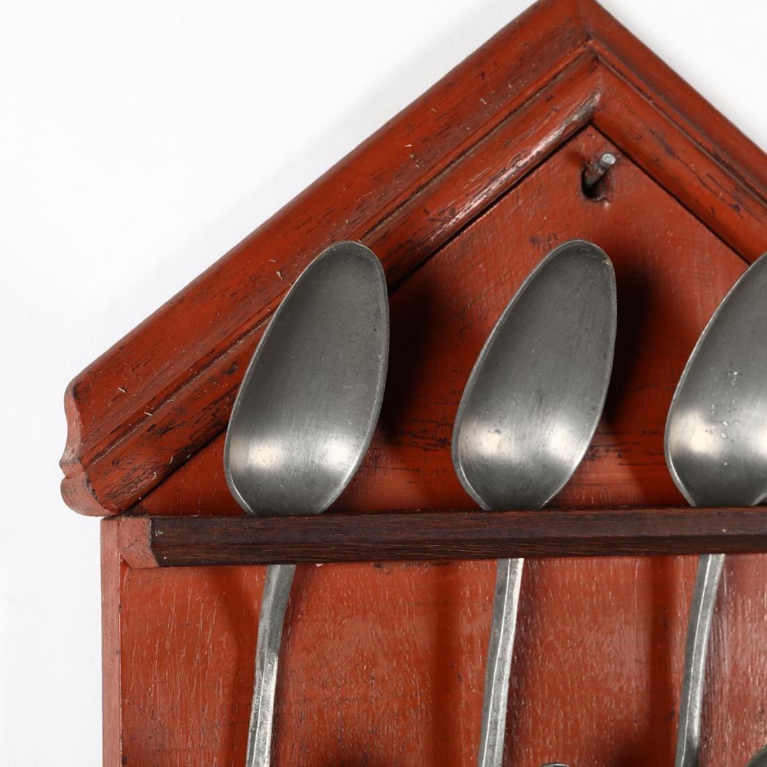 Twelve Lead Spoons with Painted Rack - 2