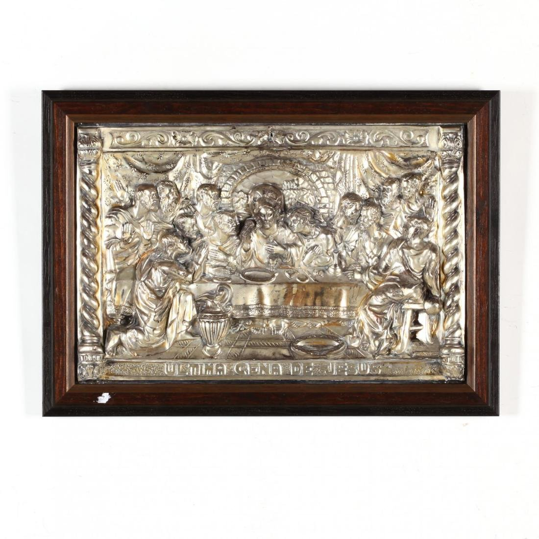 A Vintage Silverplate Plaque of the Last Supper