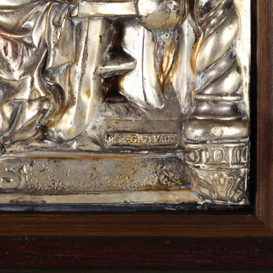 A Vintage Silverplate Plaque of the Last Supper - 2