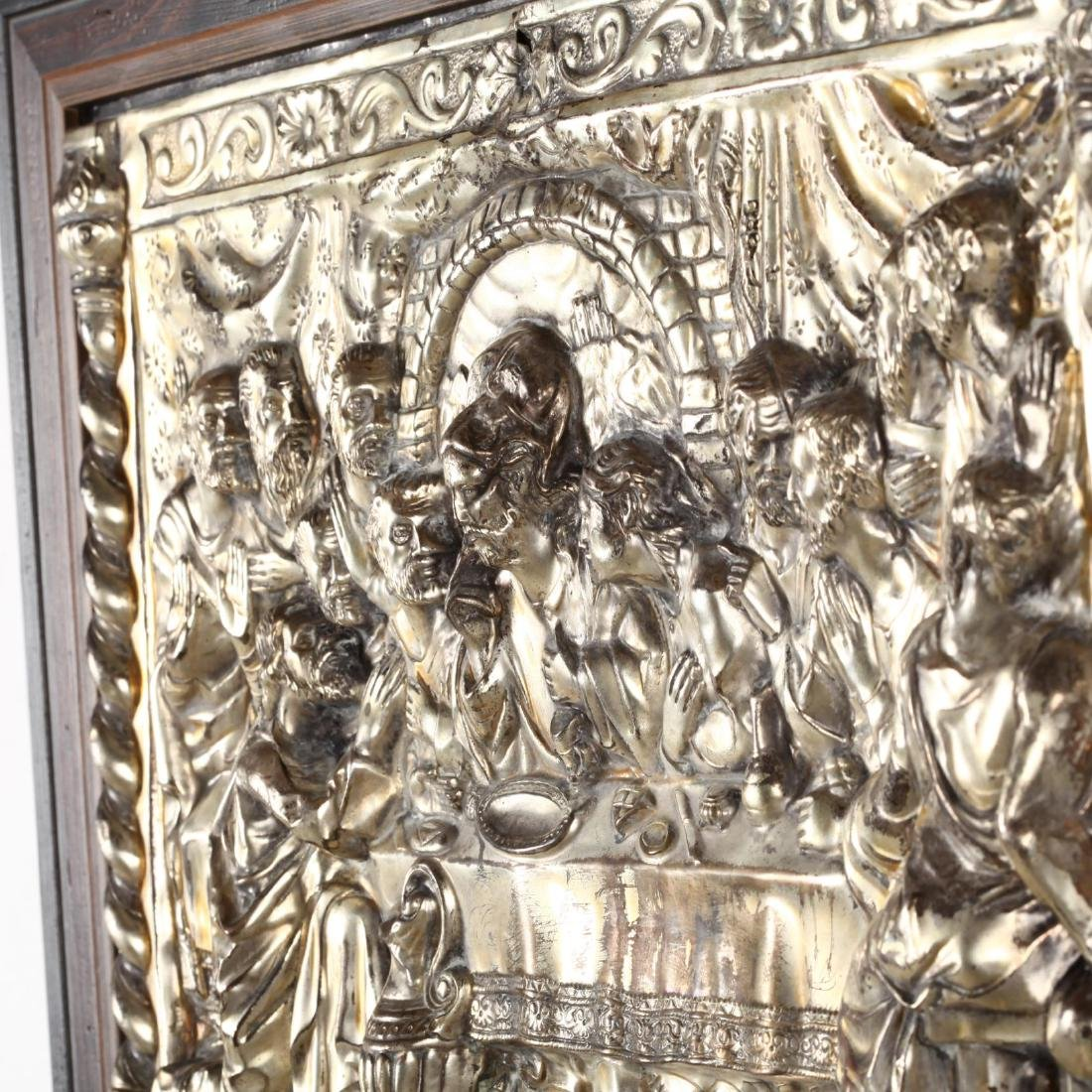 A Vintage Silverplate Plaque of the Last Supper - 3
