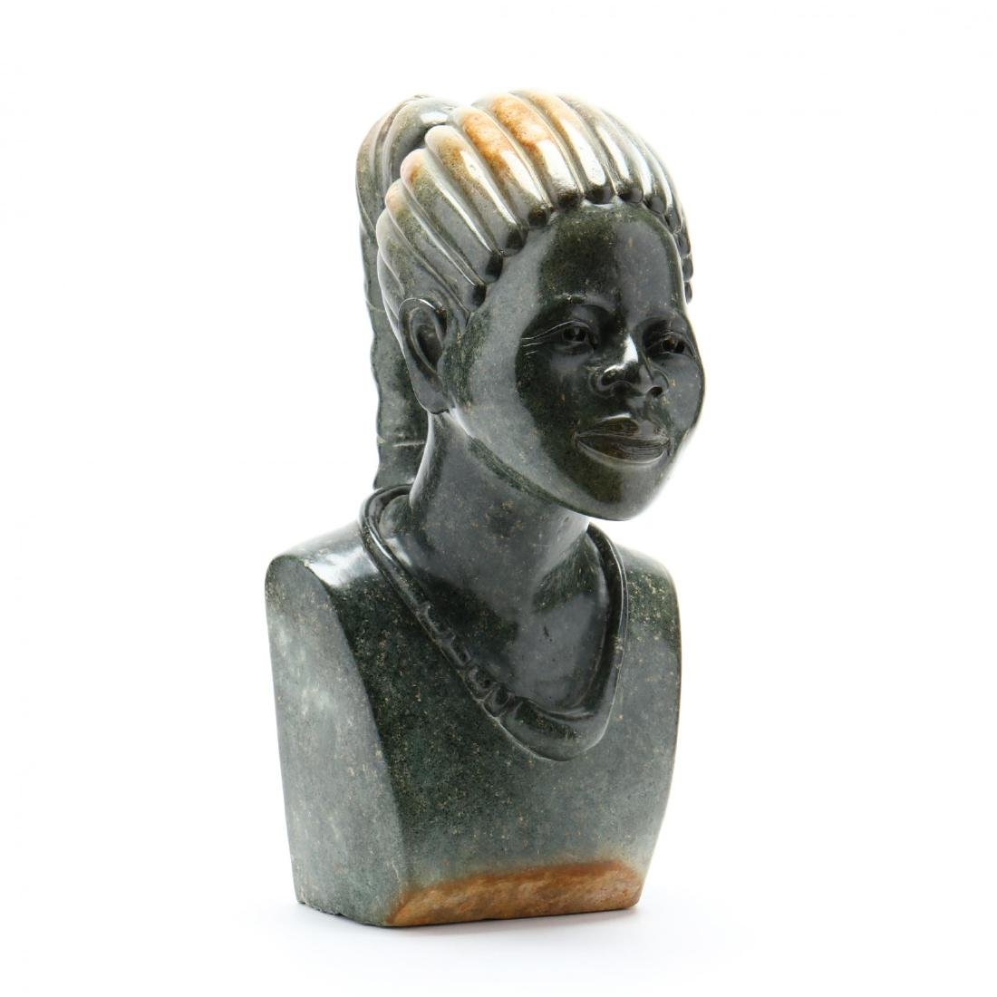 A Large African Shona Stone Carved Bust of a Woman