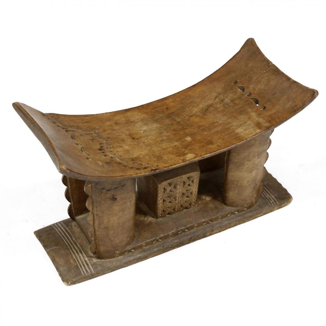 African Carved Wood Stool - 2
