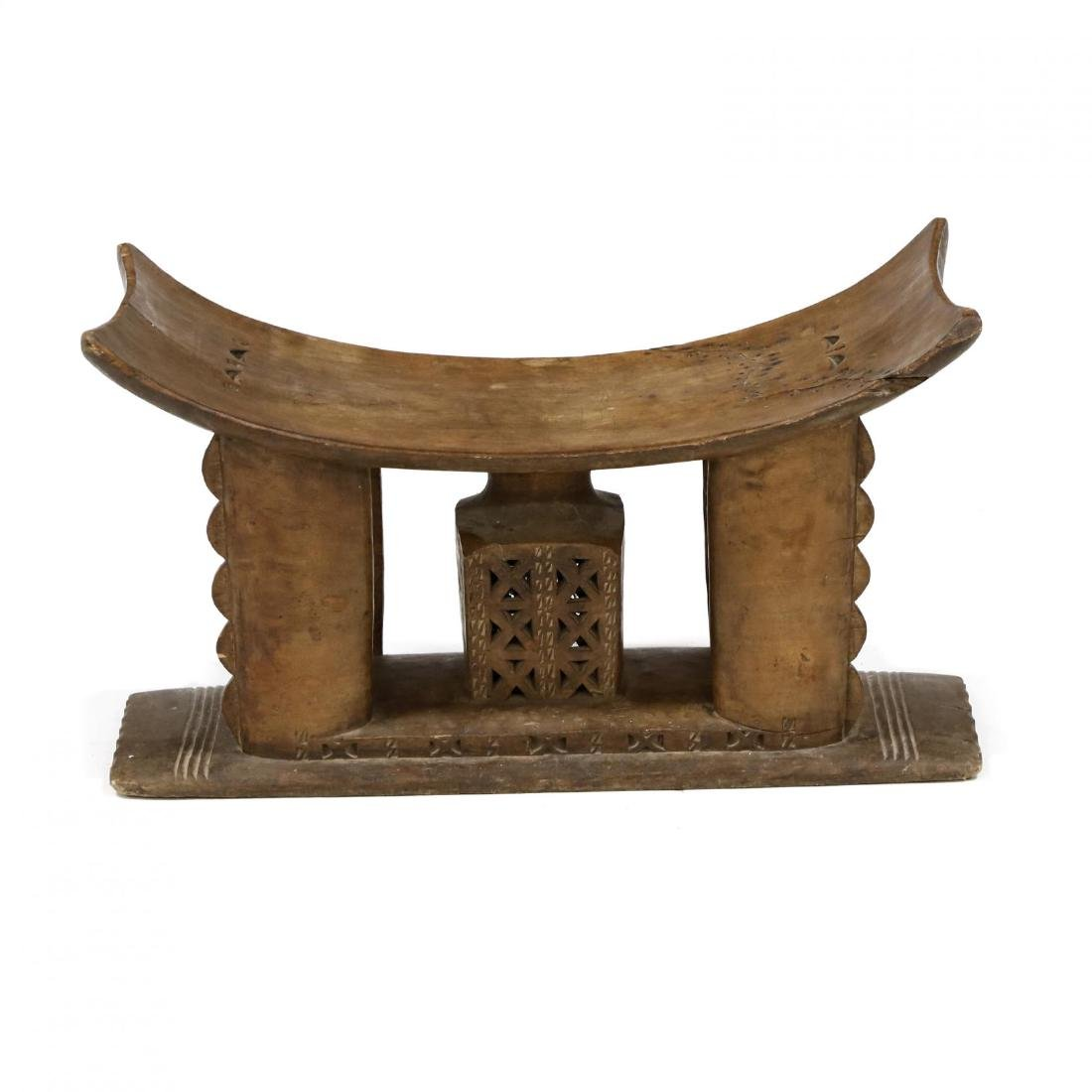 African Carved Wood Stool - 3