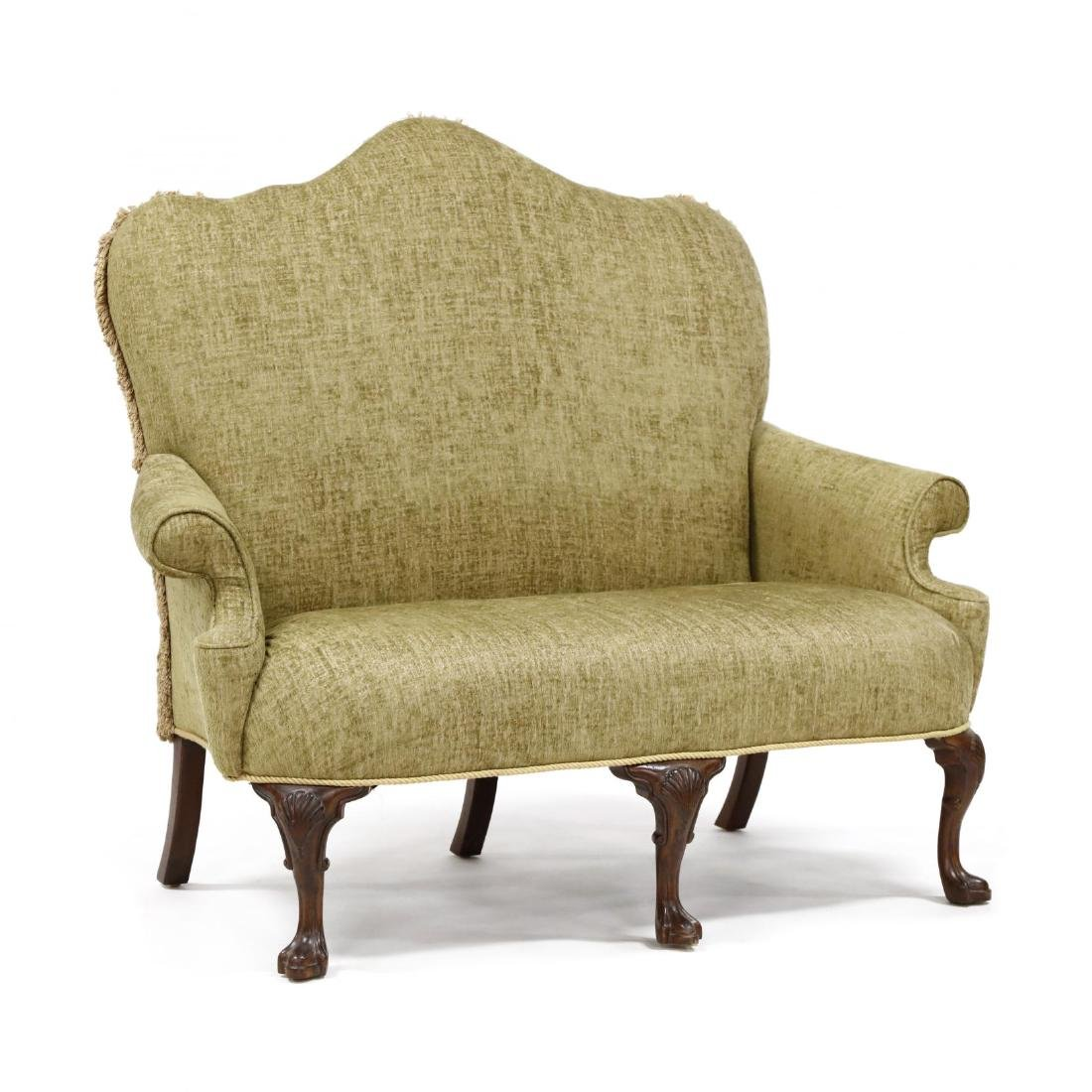 Queen Anne Style Overupholstered Settee