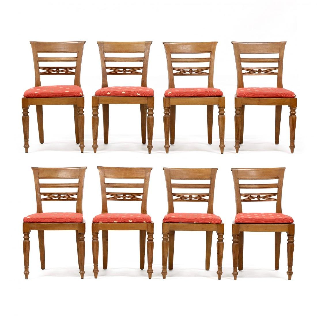 Set of Eight Teak Regency Style Dining Chairs